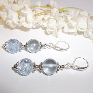 Blue and Silver Beaded Earring Woman Set Pair 3513